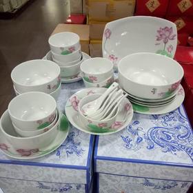 三环陶瓷32头中餐具  好运莲