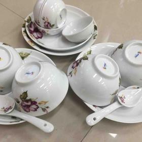 三环陶瓷16头中餐具  法国花