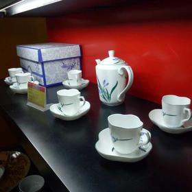 三环陶瓷13头茶具  水仙花