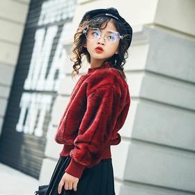 加绒罗纹短款毛衣