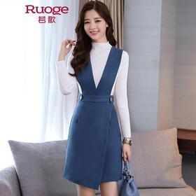 韩版修身针织衫毛呢背带裙两件套  BLKE1779