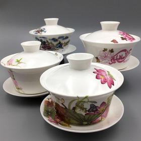 国画系列优质骨瓷盖碗 | 四只套装 | 唐山新月穆斯林瓷器