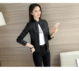 【美货】秋女装新款韩版机车皮衣女短款pu皮短外套立领修身显瘦皮夹克
