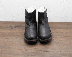 女士一体羊毛冬季保暖棉靴防滑黑色雪地靴