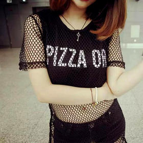性感套装裙夏季韩版新款字母网络T恤学生套装裙包臀半身短裙