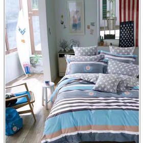 40匹马棉床盖四件套-卡尔文(蓝)