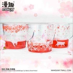 樱花系列风格杯子  耐热玻璃  猫咪小鹿兔子三款印花