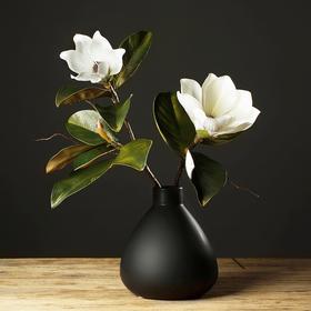 日式简约陶瓷花瓶摆件 客厅手工禅意花器家居装饰品 黑白花插摆设
