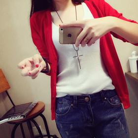 韩版修身V领长袖针织衫女开衫短款薄外套纯色空调衫秋季女装