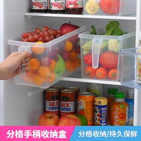 日本食品收纳盒厨房长方形手柄大号冰箱保鲜盒杂粮蔬果塑料密封罐