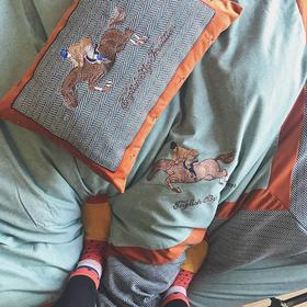 骑士精神 特别定制丝织拉绒 超精致刺绣四件套 可配抱枕