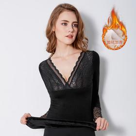 加厚加绒女神衣V领冬季内穿单件上衣紧身棉打底衫XF
