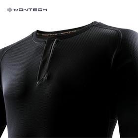 MONTECH亨利领单导长袖冬季运动装保暖防静电长袖跑步透气速干T恤