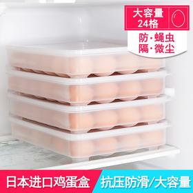 日本进口冰箱鸡蛋盒保鲜收纳盒塑料鸭蛋食物包装储物盒厨房蛋托格