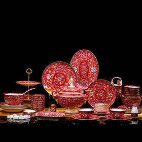 景德镇高档描金珐琅彩玛瑙红86头骨瓷餐具