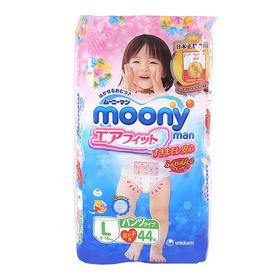 Moony 日本原装进口尤妮佳婴儿裤型学步裤 L44片女宝宝拉拉裤*4包