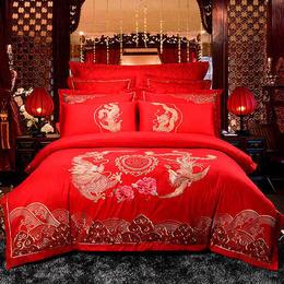 全棉婚庆刺绣床单四件套-飞龙凤舞