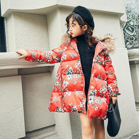 彩色花卉图案棉服