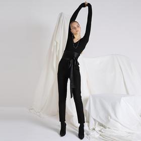 SYUSYUHAN设计师品牌 丝光色丁绑带腰封直筒烟管长裤女西裤秋冬新
