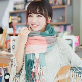 韩版秋冬新款仿羊绒围巾 时尚七彩格子