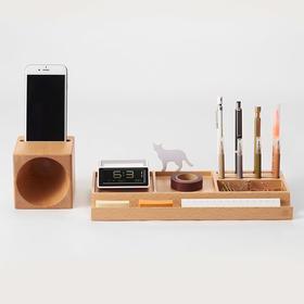 哲品家居大声纳笔筒桌面文具收纳盒置物架手机底座扩音器创意摆件