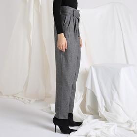 SYUSYUHAN设计师 帅气人字纹软呢舒适里衬复古褶皱翻脚口腰带长裤
