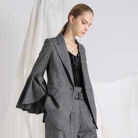 SYUSYUHAN设计师品牌 人字纹羊毛软呢立体喇叭袖双排扣短西装外套