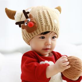 圣诞帽子 神鹿加绒针织保暖帽