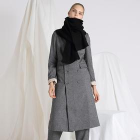 SYUSYUHAN设计师 帅气翻折袖口双排扣羊毛人字纹软呢长款西装大衣