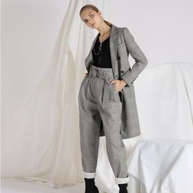 SYUSYUHAN设计师品牌 定制反面抓绒复古格纹褶皱宽松小脚腰带长裤