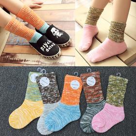 新款中筒纯色棉儿童堆堆袜 棉袜吸汗透气