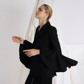 SYUSYUHAN设计师品牌 挺括羊毛呢立体喇叭袖双排扣短款西装呢外套