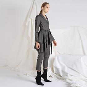 SYUSYUHAN设计师 西装领双排扣不对称荷叶摆格子合体连体裤小脚裤