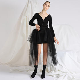 SYUSYUHAN设计师 独特心机不对称露腿多层次梦幻黑色网纱蓬蓬半裙