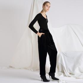 SYUSYUHAN设计师 进口高密重磅弹力丝绒优雅气质宽松小脚腰带长裤