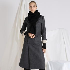 SYUSYUHAN设计师 挺括有型羊毛呢双排扣气质合体西装外套长款大衣