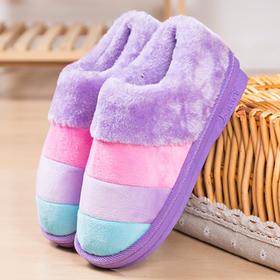 冬季彩条纹月子毛拖鞋情侣家居加厚保暖全包跟男女棉拖鞋慈溪厂家