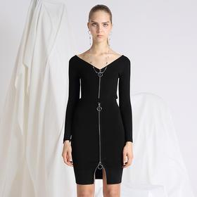SYUSYUHAN设计师品牌 高弹加密修身显瘦包臀圆环拉链百搭针织半裙