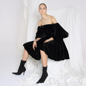 SYUSYUHAN设计师品牌 进口重磅加厚丝绒灯笼袖蓬蓬连衣裙可露肩