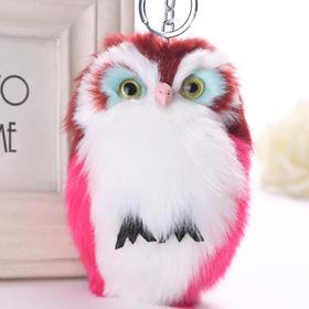 仿兔毛钥匙扣猫头鹰挂件 包包挂件毛球钥匙扣