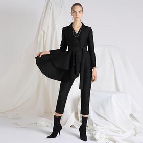 SYUSYUHAN设计师 挺括丝棉西装领双排扣荷叶摆合身九分连体裤黑色