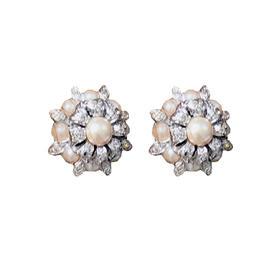 二手古着银镀金天然珍珠锆钻耳夹