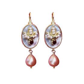 地中海珍珠母贝红宝石925银镀金