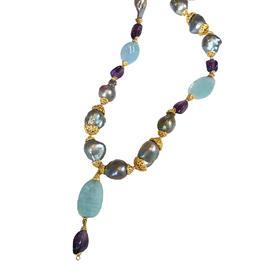 海蓝宝紫水晶巴洛克黑珍珠博物馆款项链