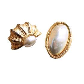 二手古着铜镀金人造珍珠耳夹