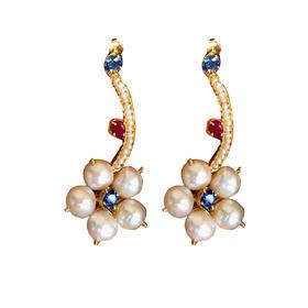地中海珍珠红宝石蓝宝石925银镀金
