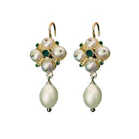 地中海珍珠绿宝石925银镀金