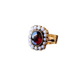 红榴石珍珠925银镀金