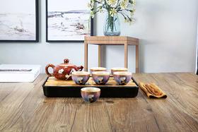 钧瓷窑变功夫茶具套装 浮雕花纹品茗杯(3种颜色)