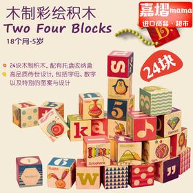 美国B.toys 木轨道积木24件 宝宝早教益智看图识物认知玩具24块